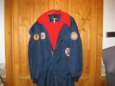 VGT SKI DOO red fleece line hooded vtg patches  ONE PIECE SNOWMOBILE SUIT Med