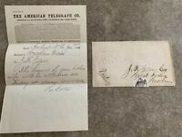 1866 The American Telegraph Company Paid Delivery Embossed Cover with Message