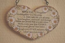 Wall Plaque Daisy Daughter Heart Sign Daisies Ideal Birthday Gift 19cm SG1591