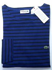 NWT Lacoste Men's Long Sleeve Regular Fit Blue/Navy Striped Cotton Shirt XL Eu 6