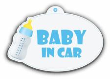 "Baby In Car Boy Bottle Sign Car Bumper Sticker Decal 5"" x 4"""