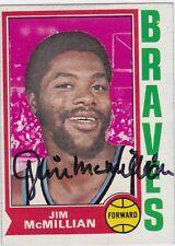 Jim McMillian Autographed 1974 Topps Basketball Card #38 Buffalo Braves - RIP