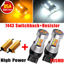 2x 7443 7440 White/Amber Switchback 20SMD LED Turn Signal Light Bulbs+Resistors