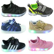 Toddler Kids Boys Girls Light Up Flashing LED Trainers Running Shoes Slip On UK