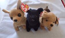 Lot of 3 TY Beanie Babies Dogs  - Tiny, Scottie, Tuffy