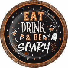 "Halloween Happy Hour 8 Ct 7"" Eat Drink & Be Scary Dessert Cake Plates"