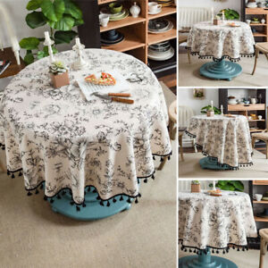 Modern Cotton Linen Tassel Tablecloth Round Dining Room Kitchen Table Cloth Deco