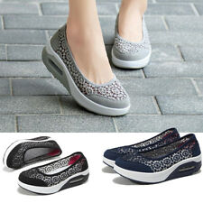 Women Lady Casual Creeper Sport Shoes Mesh Walking Loafer Round Toe Slip On Size