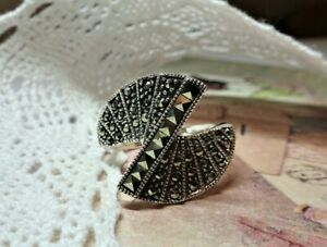 My S Collection 925 Sterling Silver Marcasite Art Deco Style RING
