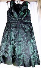 Green & Black Floral Evening Prom Party Dress Size UK 18 EU 44 US 14