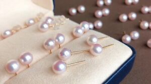 Genuine Natural Freshwater Pearl 18K Solid Gold Earrings Luxury Boxed