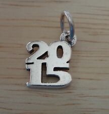 Sterling Silver 13x11mm College School Graduation Stacked 2015 Charm