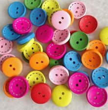 100pcs Mixed Color Round Shape Wooden Buttons Fit Scrapbook Sewing Craft fnk014