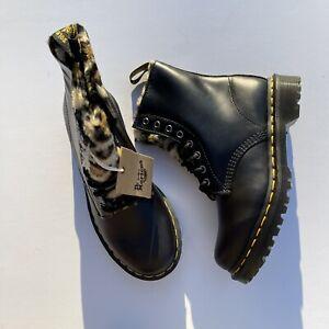 Dr. Martens 1460 Serena Leopard Faux Fur Lined Boots Women's Size 7
