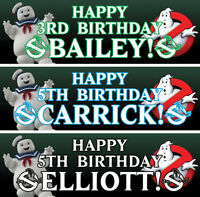 2 x personalised birthday banner ghostbuster nursery children adults kid party