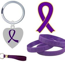Purple Cancer Awareness Enamel lapel pin badges,wristbands,keyring,Hope