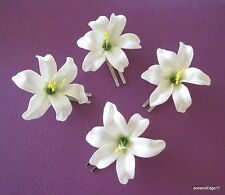 """4 Piece Lot Small 2"""" Cream White Lily Silk Flower Hair Clip,Updo,Bridal,Party"""