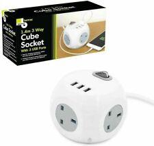 1.5 m mètre 5 Way Gang Plug Secteur Extension Qualité Cube alimentation prise UK