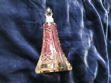1800s Victorian French Cranberry To Clear Crystal Scent Bottle Sterling Collar