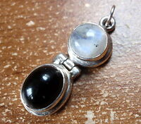 Moonstone and Black Onyx 925 Sterling Silver Necklace Imported from India 753a