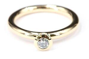 Brillant Gold 750 Ring 18K Gelbgold 1 Brillant ca. 0,32 ct. VS I Gr 59 Solitär
