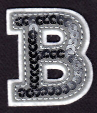 """LETTERS - Silver  Sequin  2"""" Letter """"B"""" - Iron On Embroidered Applique"""