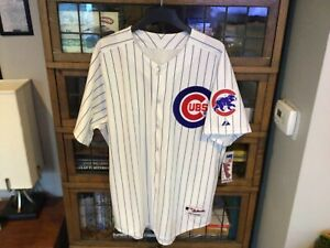 NWT Chicago Cubs MAJESTIC Authentic Home Pinstriped Jersey SZ 52 (XL) - Cool