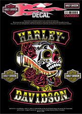 Harley Davidson Sugar Rockers Skull 4 Piece Medium Decal