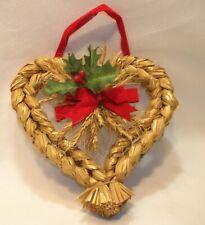 Scandinavian Danish Norwegian Straw Wheat Heart Wall Hanging Wreath Swedish