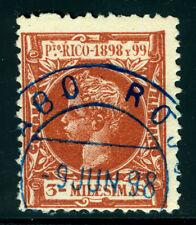"PUERTO RICO 1898 ALFONSO XIII  3m brown  Sc# 137 w/ SON ""CABO ROJO 9 JUN 98"" cxl"