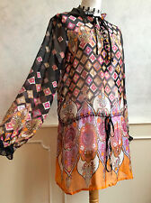 NEW + TAGS -NEXT SIGNATURE 100% SILK Paisley Black Beach Tunic Top Med 12 RRP£70
