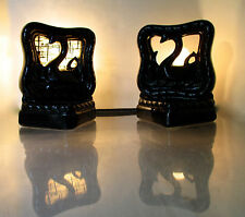 1950s VINTAGE PAIR BLACK SWAN TV LAMPS PLANTER END TABLE NIGHT STAND ART POTTERY