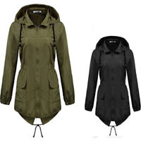 Women Ladies Hooded Plain Outdoor Waterproof Rain Coat Jacket Outerwear Autumn