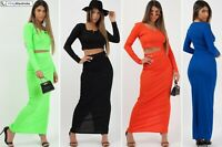 Bandage Crop Top & Bodycon Maxi Skirt Co-ord Womens 2 Piece Dress Set