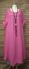 LAGENLOOK OVERSIZED LINEN ASYMMETRICAL A-LINE LONG DRESS**PINK**BUST UP TO 50""