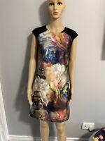 Ted Baker Size 1 Helaina Technicolour Bloom Shift Dress Black Uk Size Small