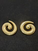 Vintage Money Gold Tone Spiral Post Earrings