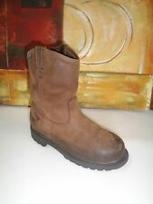 CHILD  RED HEAD WORK LEATHER MAN MADE BROWN BOOTS SIZE 3W