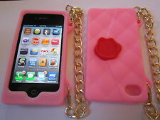 Pink Cliche Purse Style Silicone iphone 4 4G 4S Full Back Protective Case NEW