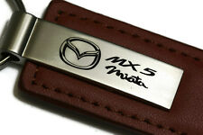 Mazda Miata MX5 Brown Leather Authentic Logo Key Ring Fob Keychain Lanyard