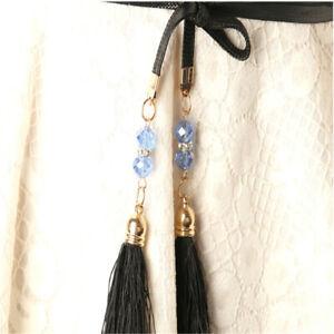 Women Belt Leather Tassel Thin Waistband Tassels Rope Belts Waistbands LL
