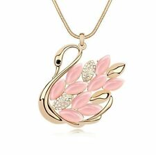 Long Swan Necklace Gold Plated in Pink Color