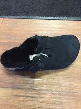 Birkenstock Women's Suede Fur Boston Clog Black 38R - 39R - 41R - 42R
