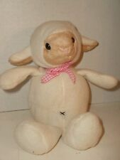 """Best Made Toys SHEEP LAMB Fleece PINK GINGHAM BOW Cream/Ivory Tan Face 9"""" Soft"""