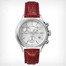 Timex Women's T2P419 Classic Chronograph White Dial Red Leather Quartz Watch