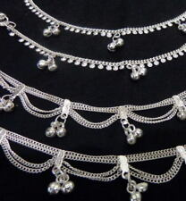saree lot 4 payal anklet ankle bracelet silver bells Indian jewelry Bollywood