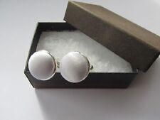 Handmade Stylish Soft White Satin Silk Fabric Inlay Mens Cufflinks Gift Box