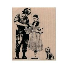 NEW Banksy Dorothy And Toto Being Searched RUBBER STAMP, Wizard of Oz Stamp