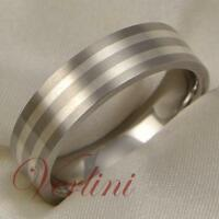 Men's Titanium Wedding Band Ring Sterling Silver Inlay Brushed Jewelry Size 6-13