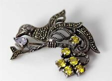 "Beautiful Sterling Silver Marcasite Amethyst & Yellow Rhinetones 1.5"" - 4056"